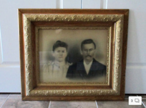 Large Size Victorian Ornate Wooden Frame with Charcoal Portrait