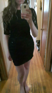 Black lace sequence dress