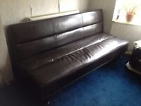 Foldout sofa 180-110 guest bed 100£ handmade leather dark brown almost new South Ockendon