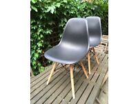 4 x Black Eames DSW style chairs for sale