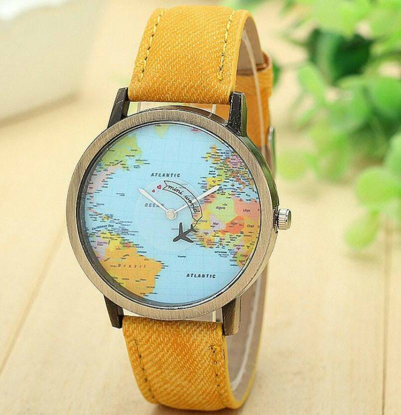 New watch world map background yellow wristband in lawrence hill new watch world map background yellow wristband gumiabroncs Gallery
