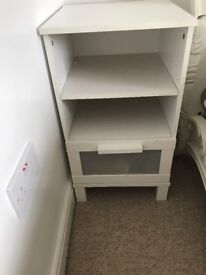 IKEA white bed side cabinets x2