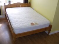 CAN DELIVER - SOLID PINE DOUBLE BED WITH MATTRESS