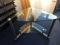 Corner desk, glass and chrome