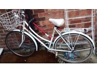 Vintage White Raleigh Caprice Bicycle with Lock and Lights!