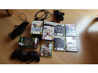 Xbox 360 slim (250GB), 3 controllers, 7 games + Kinect and remote control