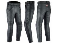 new 42w x 32l Ladies Cowhide Leather Motorcycle Trousers With Removable CE Armour