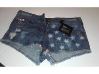 New ladies denim shorts/hotpants size 8