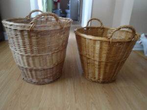 """Set of 2 Large Wicker Baskets - 15"""" and 18"""" tall, Approx 17"""" dia"""