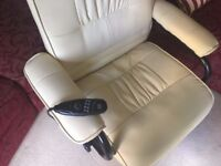 Electric massage/heated leather chair with foot stool (6 weeks old)