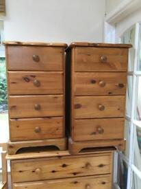 Pair of Tall pine bedside tables 4 drawers