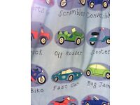 Vehicle themed curtains and bedroom accessories