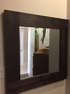 Beautiful square wooden mirror - brown - $40