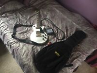 Alpine white Epiphone Les Paul with mini amp, lead, guitar strap and carry case!