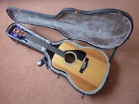 1985 Yamaha FG420 Acoustic Guitar with Hard Case and Accessories