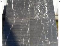 17 sqm of black marble effect emerador floor tiles