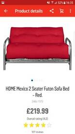 Metal futon sofa bed with red mattress