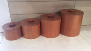 Teak Canister nesting set with liners