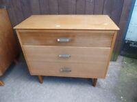 3 Drawer 1970's Bedroom Drawer Storage unit Delivery Available