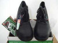 Mens Chukka Black Leather Work Boots - Steel Toecaps Size 9