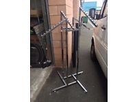 Chrome Clothes Rail Display Stand - 4 Stepped Arms, H-1220 mm – 1830 mm