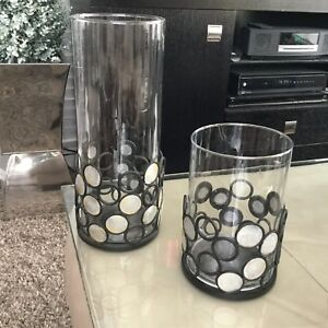 2  X METAL & GLASS CANDLE HOLDERS.    $15.00