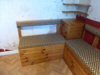 Pine Kitchen corner seating with storage.