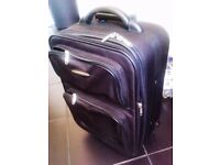 "TRULY LOVELY STURDY ORIGINAL BLACK ""JADE DESIGN"" TROLLEY SUIT-CASE HAND LUGGAGE"