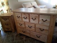Stunning Halo solid wood chest of drawers /sideboard and two 3 drawer bedside cabinets