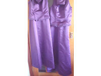 2 Purple Bridesmaid dresses and 2 matching bags (optional Roberto Vianni JEMMA Silve Fabric shoes)