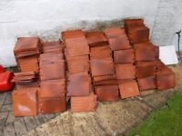 roof tiles, cladding tiles unused, red