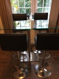 4 seater high top dining table glass.