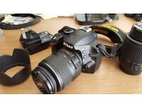 Nikon D3200 Digital SLR AF-S DX VR 18-55mm & 55-200 zoom 50 £300 ONO