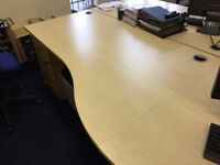 2 Office Tables, 2 swivel chairs , Pedestal and Book shelf