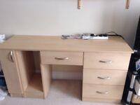 wooden ash/maple effect desk/dressing table