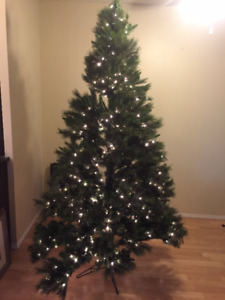 """Collapsible Christmas Tree  7.5' x 51"""" with Built In Lighting"""