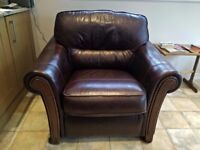 Italian real genuine leather Sofa Armchair heavy good quality in excellent mint condition deliver