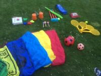 Kids Outdoor toys - play parachute, sack race bags, rackets, cricket, egg and spoon and balls
