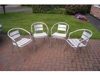 Garden chairs - 4off - aluminium, lightweight, stackable.