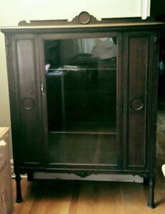 China cabinet, Mtl, 1930s solid wood