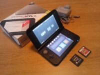 Boxed 3dsxl 3ds do console silver/black with games and charger pokemon