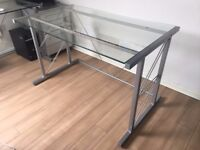 Glass Top Desk with Silver Frame