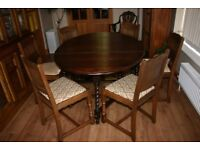 Dining Table Drop Leaf Barley Twist + 6 Chairs all in Solid Oak
