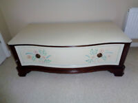 OTTOMAN. USE AS A BENCH, DEEP DRAWERS FOR SHOES. CREAM STENCILLED