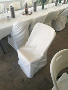WEDDING Lifetime Folding Chair Covers Ivory LOT of 64