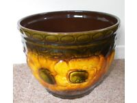 Unused West German fat Lava Pot Planter Scheurich 887-22 Sunflower Design