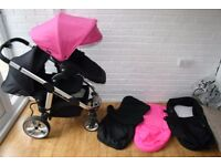 iCandy Apple 2 Pear single / double tandem pram with carrycot - pink / black **can post**