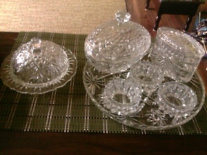 Beautiful 3 pc. Set cut glass candy dishes w 3 candle holders.
