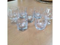 Set of 5 named whiskey tumblers & 2 brandy glasses