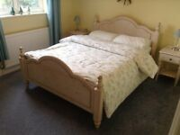 A Full Set Of Ducal Bedroom Furniture In Very Fashionable Shabby Chic Washed White